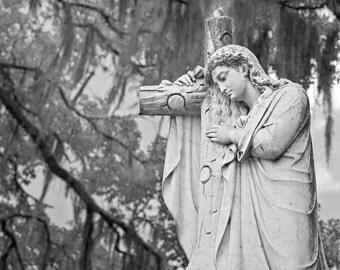 Stone Angel with Cross, Bonaventure Cemetery, Savannah Georgia, Photographic Print, Gallery Wrap, Southern Gothic, Savannah Photography