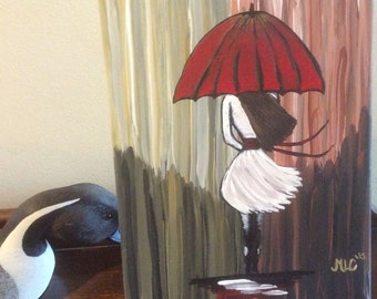 Modern girl red umbrella 9x12 canvas raining windy