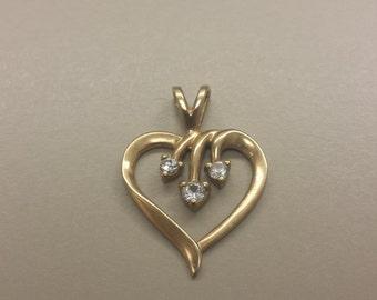 10K Yellow Gold Heart Pendant With Diamonds