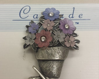 Costume Jewelry Potted Flower Brooch