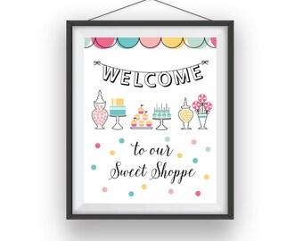 Sweet Shoppe Print, Sweet Shop wall print, Sweet Shoppe room art, Candy Shop playroom decor, nursery art, wall decor, children wall art