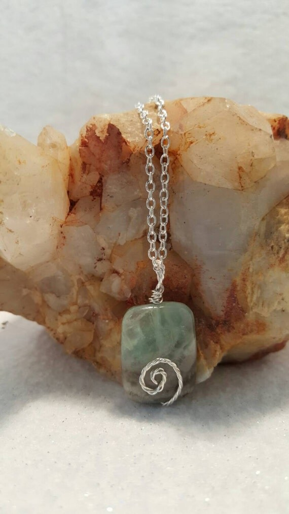 """Ocean Agate Wire Wrapped Pendant with 18"""" Silverplated chain"""