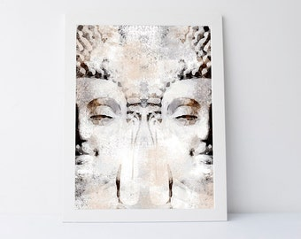 Buddha head, modern wall decor, printable art, contemporary print, zen wall art, wall art printable, zen art print, zen home decor