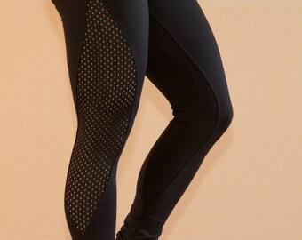 Women's workout leggings from Brazil - waistband and mesh panels