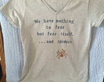 T-shirt, gray with dark blue printing and a brown spider, ladies M