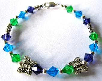 Butterfly Austrian Crystal Bracelet  ONE OF KIND