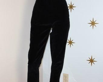 Vintage 1950s black velvet velveteen cigarette ankle high waisted pants small 95