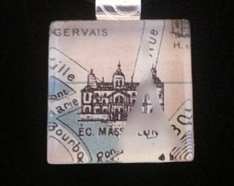 Etched Glass Pendant-Paris