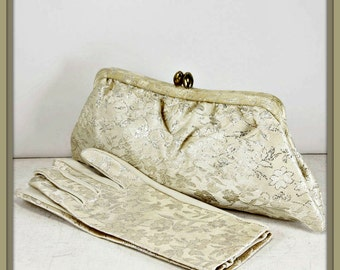Vintage Wedding Evening Clutch with Matching Gloves,Vintage Evening Clutch,Vintage Evening Bag,Vintage Wedding Evening Bag,Vintage Gloves