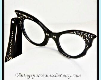 Vintage Cat Eye Folding Lorgnette/Opera/Reading Glasses,Vintage Lorgnette Glasses,Vintage Opera Glasses,Vintage Reading Glasses,Eyeglasses