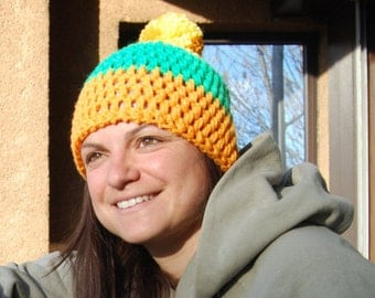 Hat wool lined - women / teens - yellow orange and green