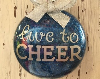 Personalized Cheerleader Ornament, Live to Cheer, Male or Female Cheerleader