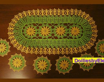 Crochet doily - crochet doilies - crochet set - crocheted doily - Home decor - Yellow green crochet doilies - Handmade tablecloth