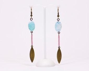 Earrings precious agates