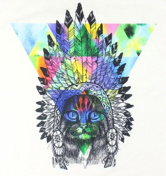 Festival Cat Tank, Headress Tank Top, Cat Shirt, Free Spirit, Boho, Festival Wear, Hippie Clothes, Spiritual, Gypsy