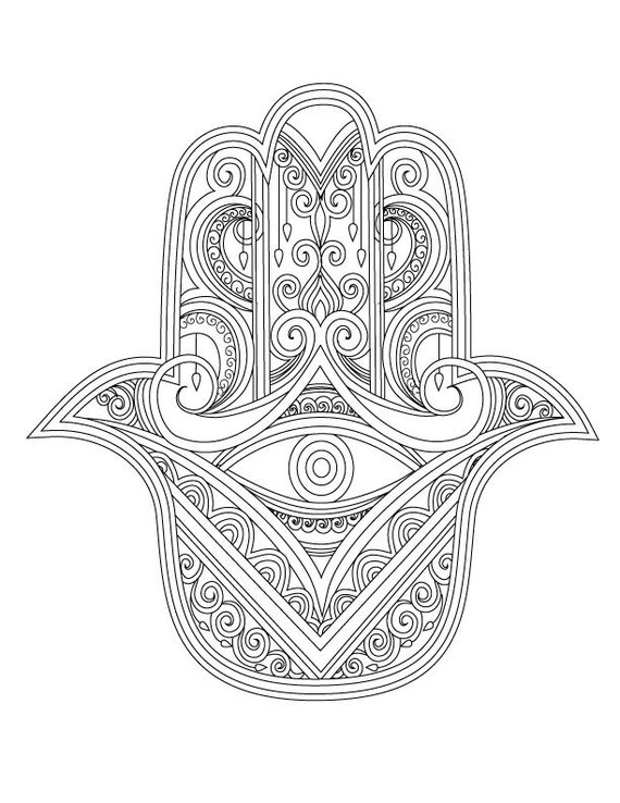 hamsa coloring pages - items similar to hamsa coloring page 1 on etsy