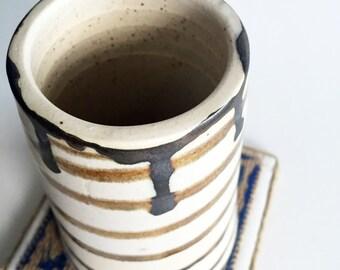 Metallic Striped Stoneware Cup