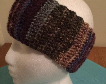 Crochet ear warmer, crochet headband - Jewel Tones