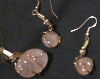 Rose quartz tumbled stone earrings & Clear quartz stone pendant.