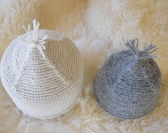 Beige and gray hand made baby hats