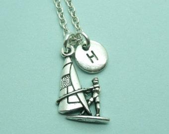 Windsurfing charm necklace, wind surfer necklace, personalised initial necklace, initial charm necklace, letter, windsurfing gift