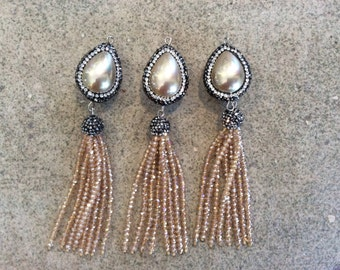 pave encrusted pearl crystal tassel jewelry making wholesale