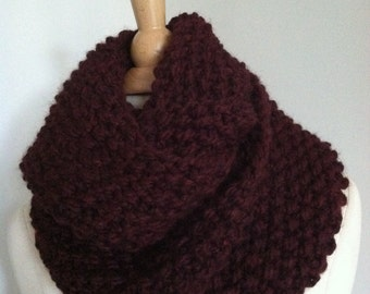 Knitted Soft Bulky Wine Seamless Infinity Scarf Handmade Accessories Ready To Ship