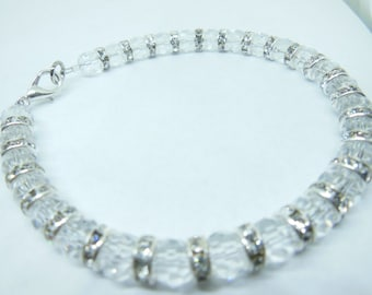 Crystal and silver bracelet