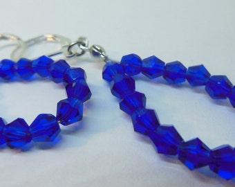 Dark Blue, Dangle Earrings, Handmade