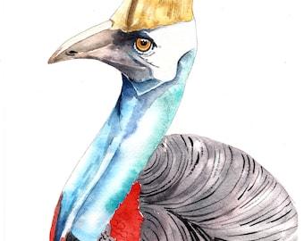 Cassowary wall art, exotic bird print, native bird print, nature wall art, decor wall art, watercolour art print, gift under 50, bird print