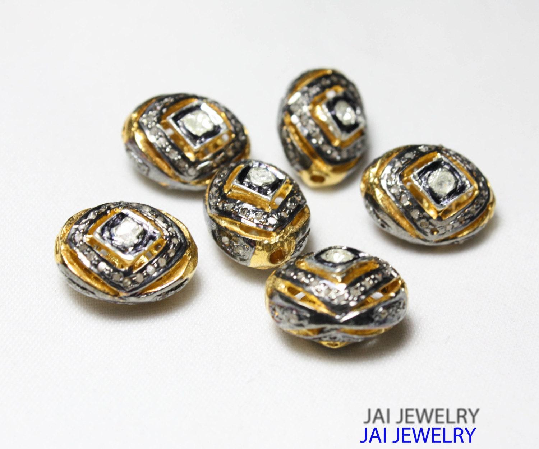 Beaded Diamond: Pave Diamond Beads Spacer 925 Sterling Silver With Diamonds