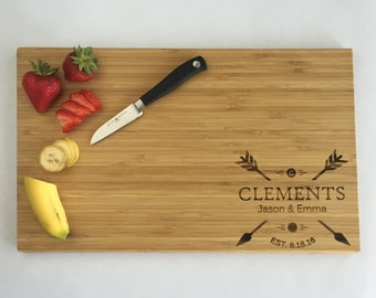 Personalized Wedding Gift - Couple Gift - Bamboo Cutting Board - Monogram Cutting Board - 'Clements' Style