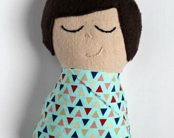 Light Skinned Boy Swaddled Doll