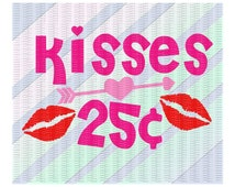 Lips SVG, Heart Arrow Svg, Kisses 25 Cents Cutting File, SVG- Dxf- PNG- Cut Files For Silhouette Cameo & Cricut, Svg Download.