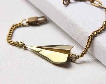 Paper Plane Origami Charm Bracelet - Handmade Jewelry