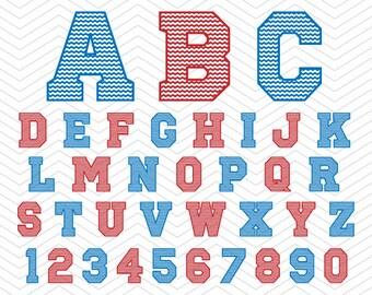 College Sports Alphabet Chevron Numbers SVG PNG DXF eps, College Font, Vinyl Decal Cut Files Cricut Design, Silhouette studio, Sure Cut Lot