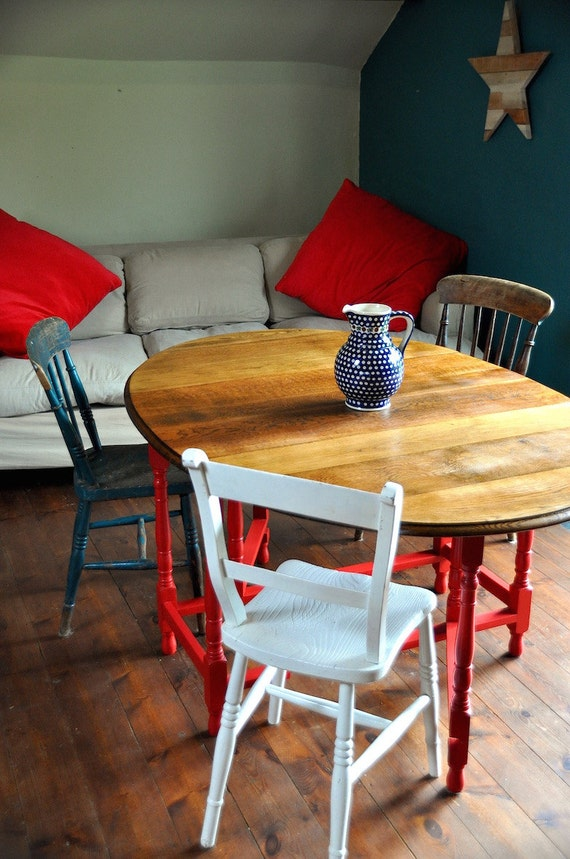 Vintage Dining Table Country Kitchen Reclaimed Wood Oak Dining