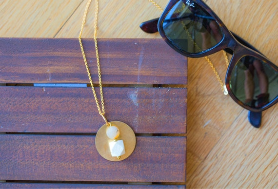 Essential Oil Diffuser Necklace // Wood & Druzy Agate with Brass Pendant