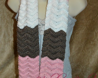 Neapolitan Chevron Scarf. Handmade Crochet Scarf. Ready to Ship.