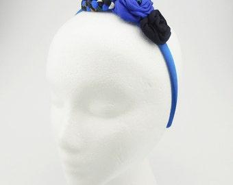 Headband (blue, black, black pearl beads)