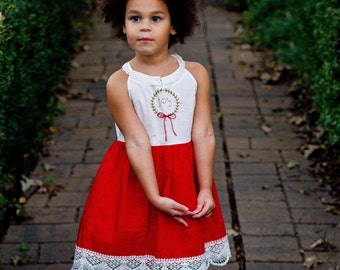 READY To SHIP Well Dressed Wolf remake JOY Christmas dress, girls holiday dress,girls christmas dress,baby christmas dress,toddler christmas