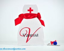 Red cross nurse dress favor box