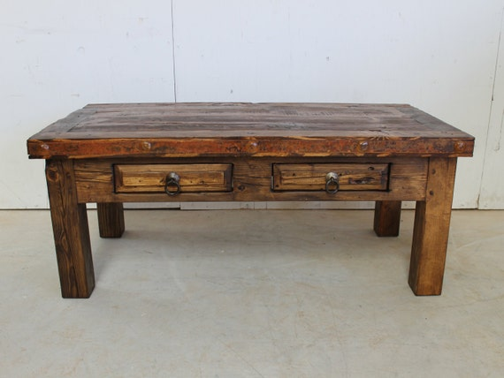Rustic coffee table reclaimed wood southwestern old for Southwestern coffee table