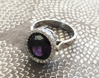 20% OFF Halo Amethyst Ring, Oval Amethyst Ring, Silver Ring, Gemstone Jewelry
