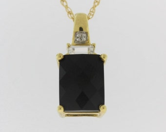 Onyx Crystal Accent Pendant - 10k Yellow Gold Black Stone Pendant