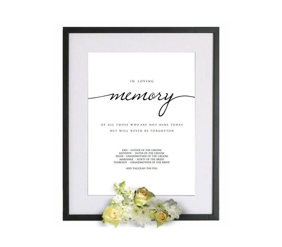 Printable in loving memory wedding template in loving memory for In loving memory templates free