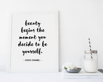 Coco Chanel Printable Quote, Beauty Quote Print, Coco Chanel Quote, Be Yourself Quote, Modern Print, Inspirational Print, Digital Quote