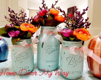 Blue Mason Jar Set/Mason Jar Centerpiece/Distressed Mason Jar/Painted Mason Jar/Wedding Centerpiece/Rustic Flower Vase/Country Wedding