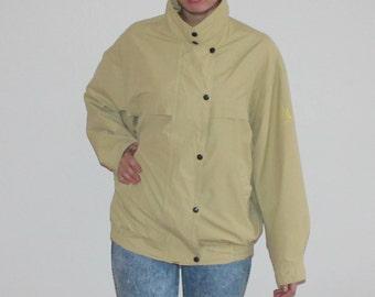 Vintage Hipster Jacket Windbreaker Yellowish Pale Lime Yellow Jacket Oversized Parka Unisex Fairway Style Large Size