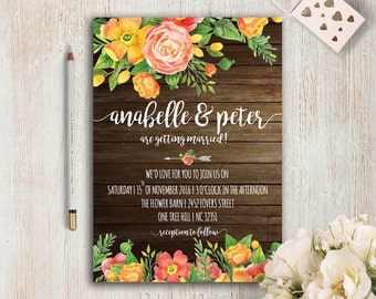 Rustic Wedding Invitation Suite Printable Barn Wedding Invitation Set Bohemian Wedding Invitations Boho Hippie Wedding Invite Orange Wedding